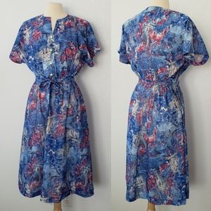 1980s Haband for Her A-Line Watercolor Dress